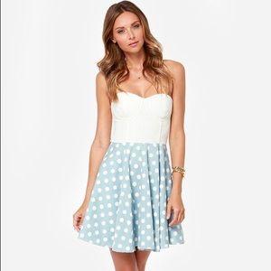 Lulus Mink Pink Chambray Eyelet Lace Dot Dress M